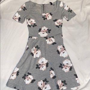 Gray floral skater dress